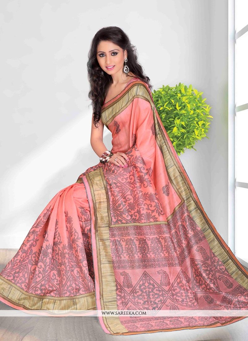 Print Work Pink Casual Saree
