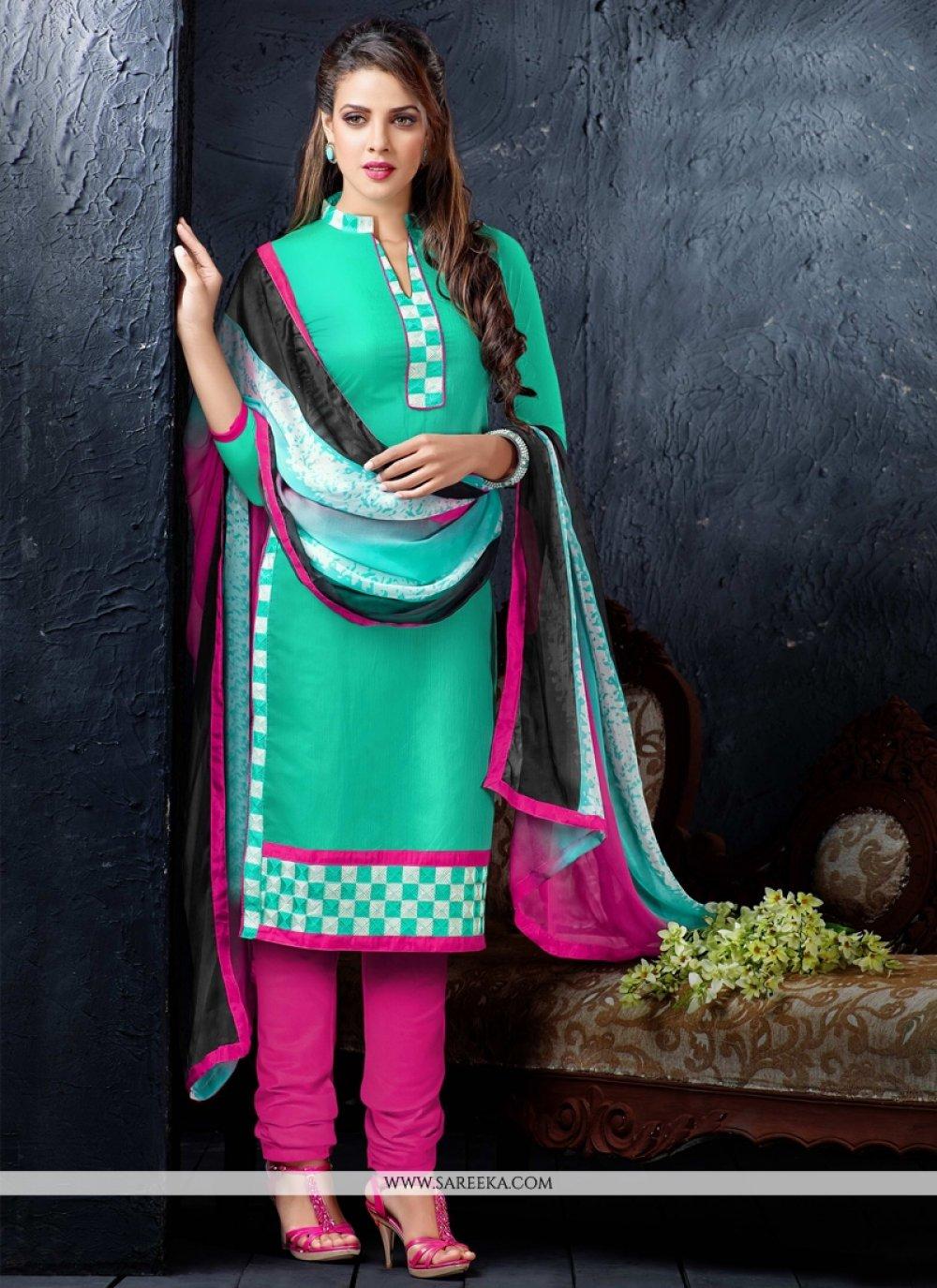 Resham Work Churidar Designer Suit