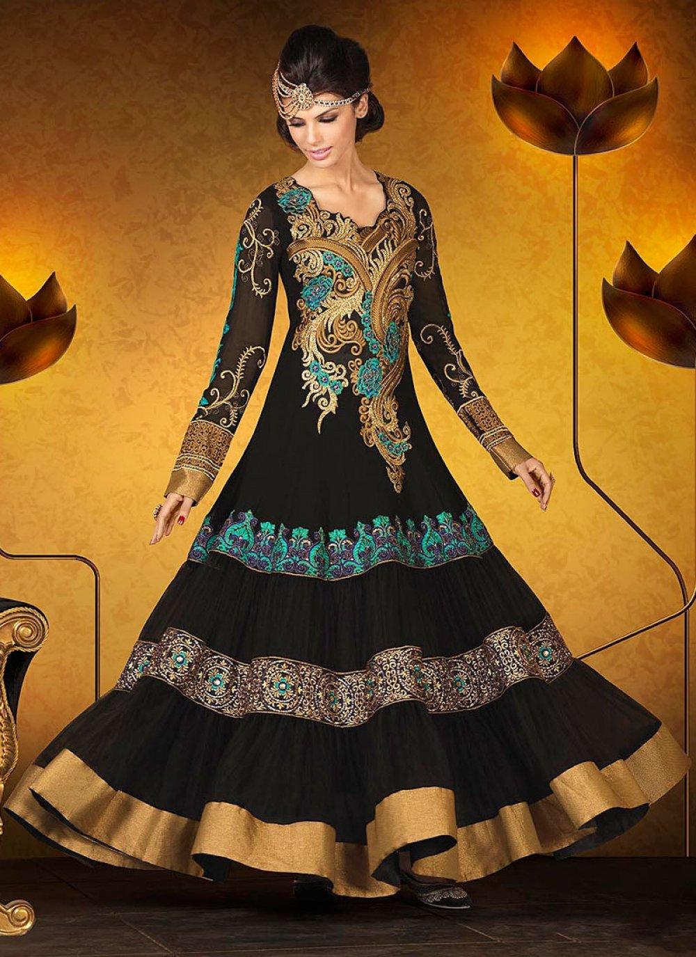 Black Patch Border Work Georgette Anarkali Suit