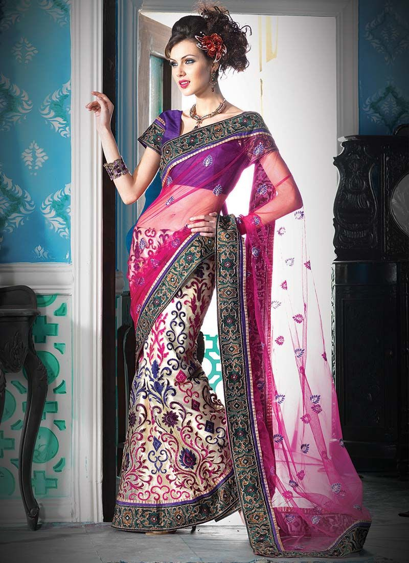 Cream And Pink Net Lehenga Saree