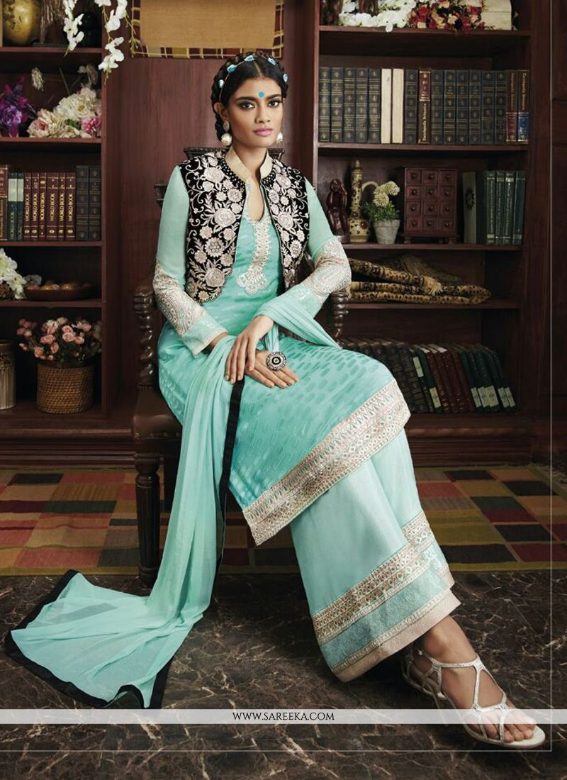 Embroidered Work Turquoise Georgette Designer Suit
