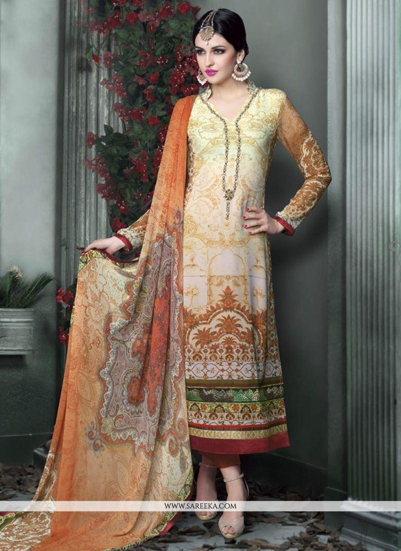 Multicolor Printed Pant Style Salwar Suit
