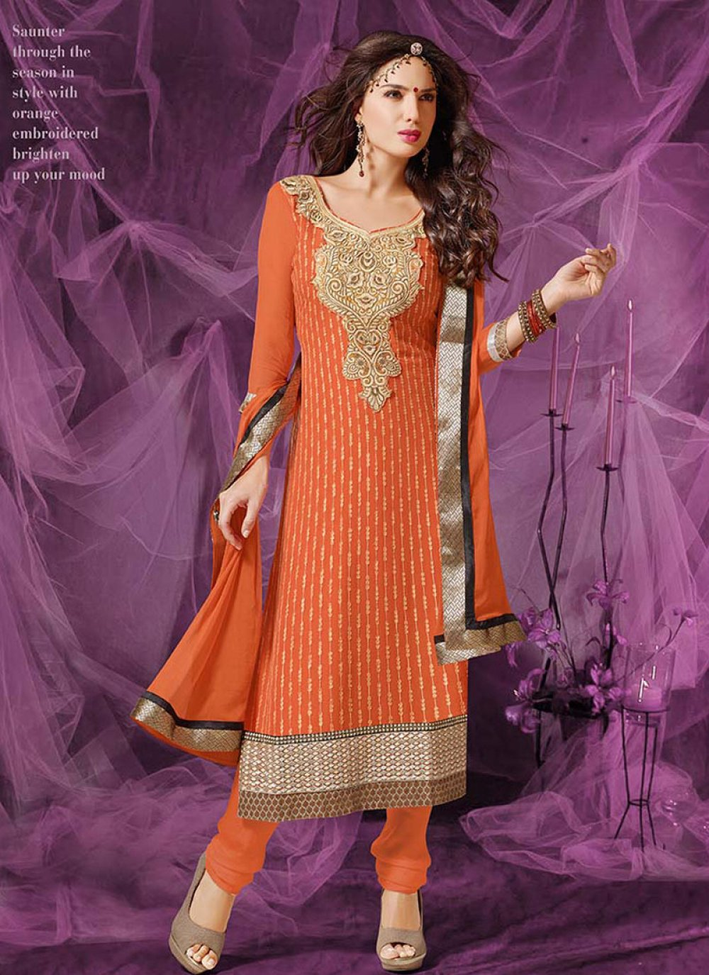 Orange Embroidery Work Churidar Suit