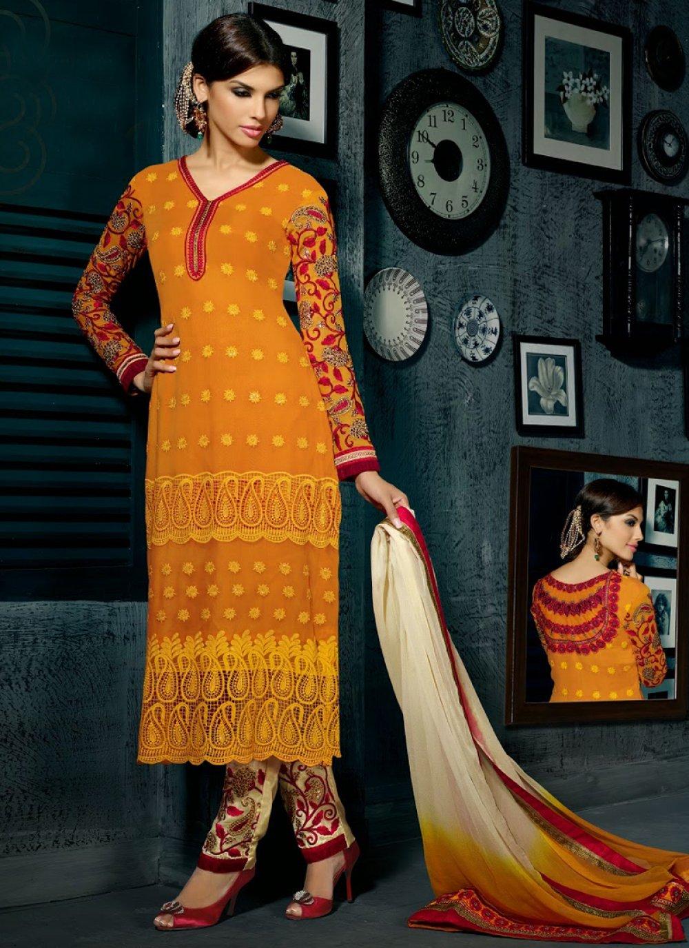 Mustard Resham Work Churidar Suit