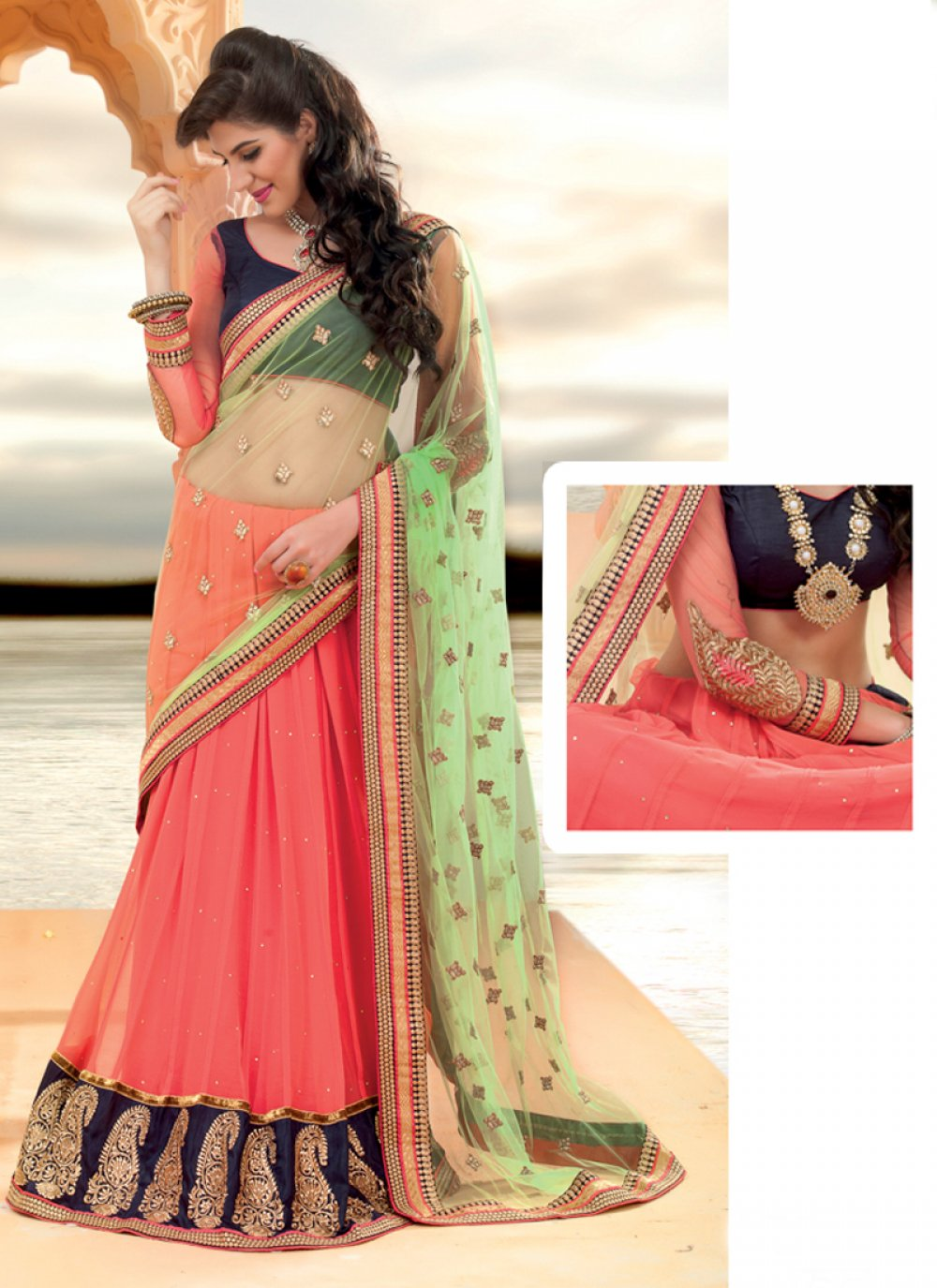 Peach And Green Net Lehenga Saree
