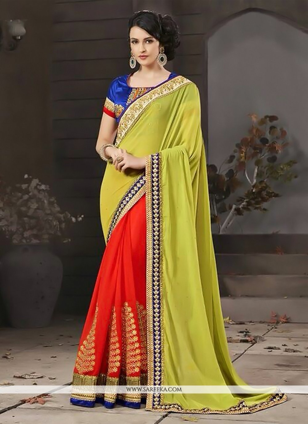 Red And Green Georgette Designer Saree