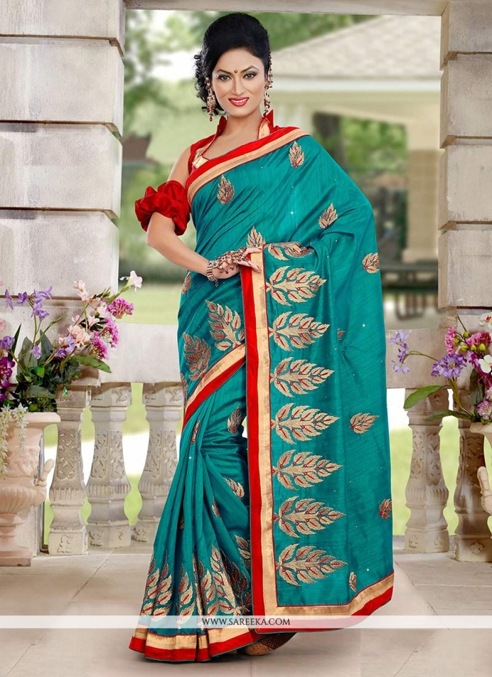 Teal Bhagalpuri Silk Saree