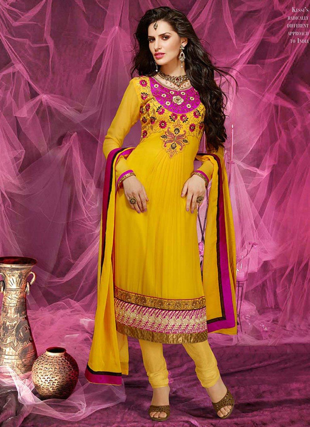 Yellow Patch Border Work Churidar Suit