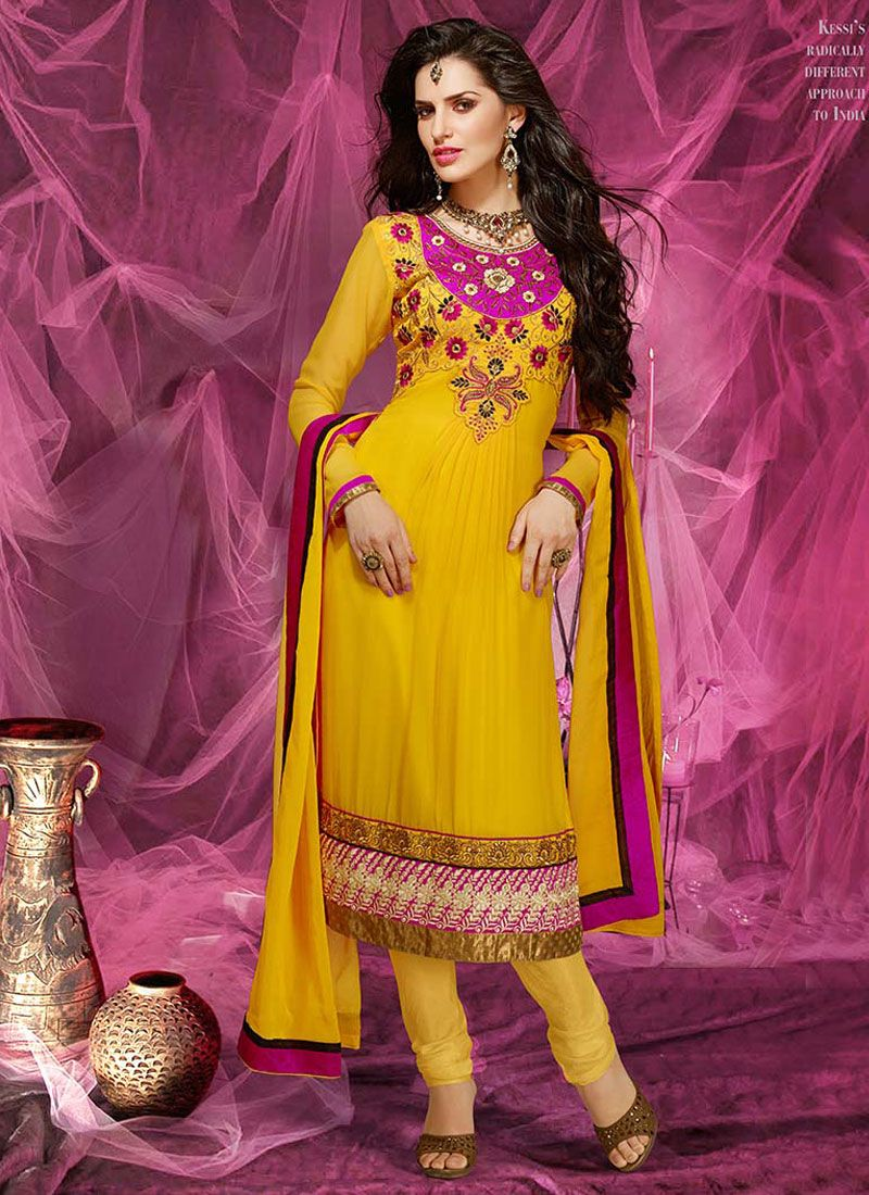 Yellow Patch Border Work Churidar Suit