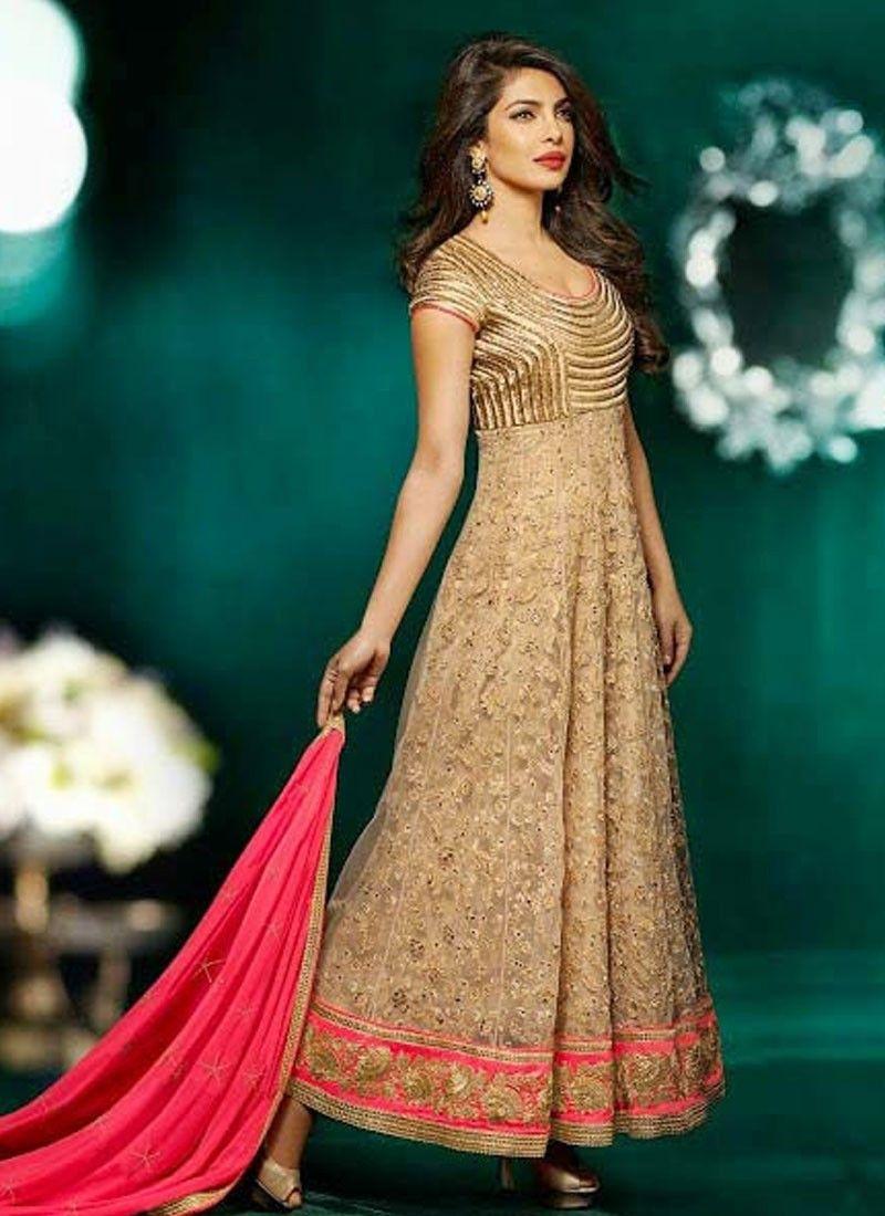 ddf9daff648 Priyanka Chopra Beige Net Anarkali Salwar Kameez -