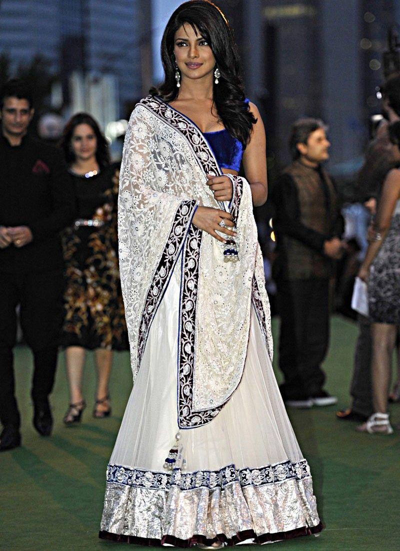 Priyanka Chopra Classy Off White Lehenga Choli