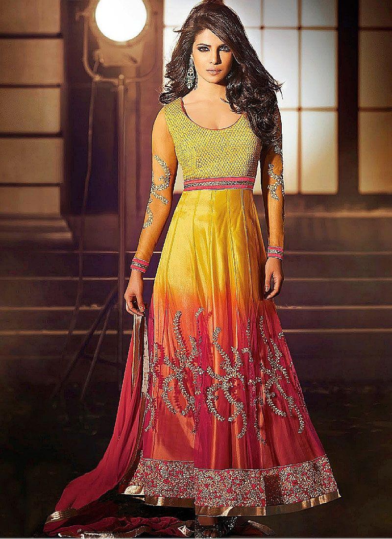 Priyanka Chopra Red And Yellow Zari Work Net Anarkali Suit