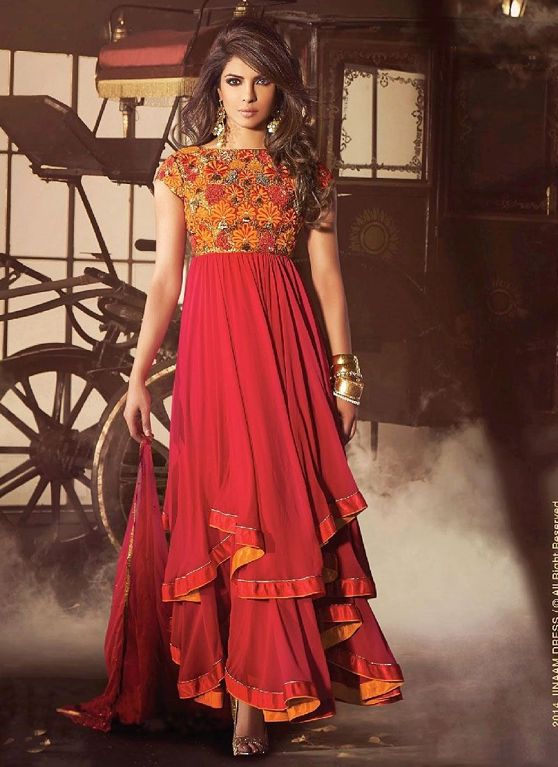 Priyanka Chopra Red Resham Work Faux Georgette Anarkali Suit