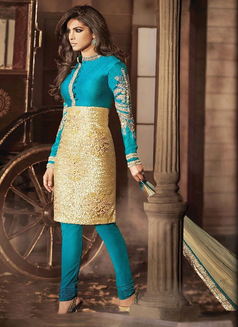 Priyanka Chopra Turquoise And Cream Resham Work Silk Churidar Suit