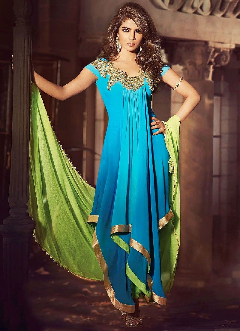 Priyanka Chopra Turquoise Embroidery Faux Georgette Anarkali Suit