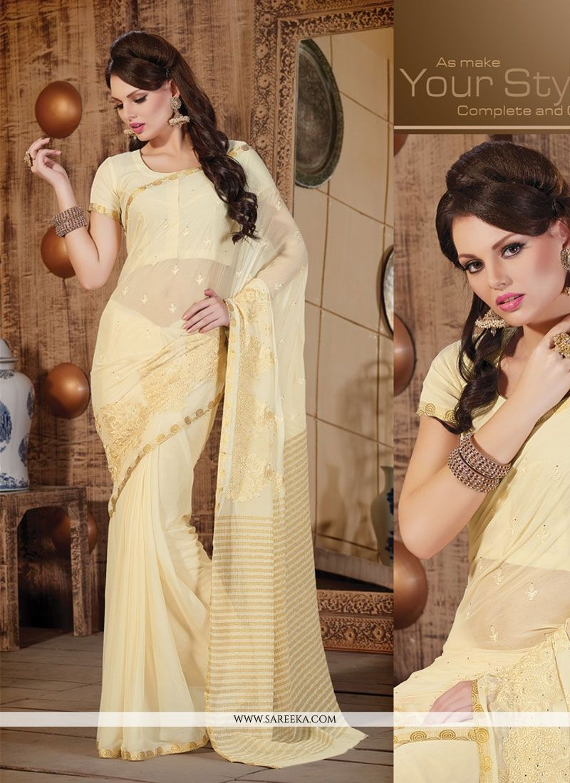Faux Chiffon Cream Designer Saree
