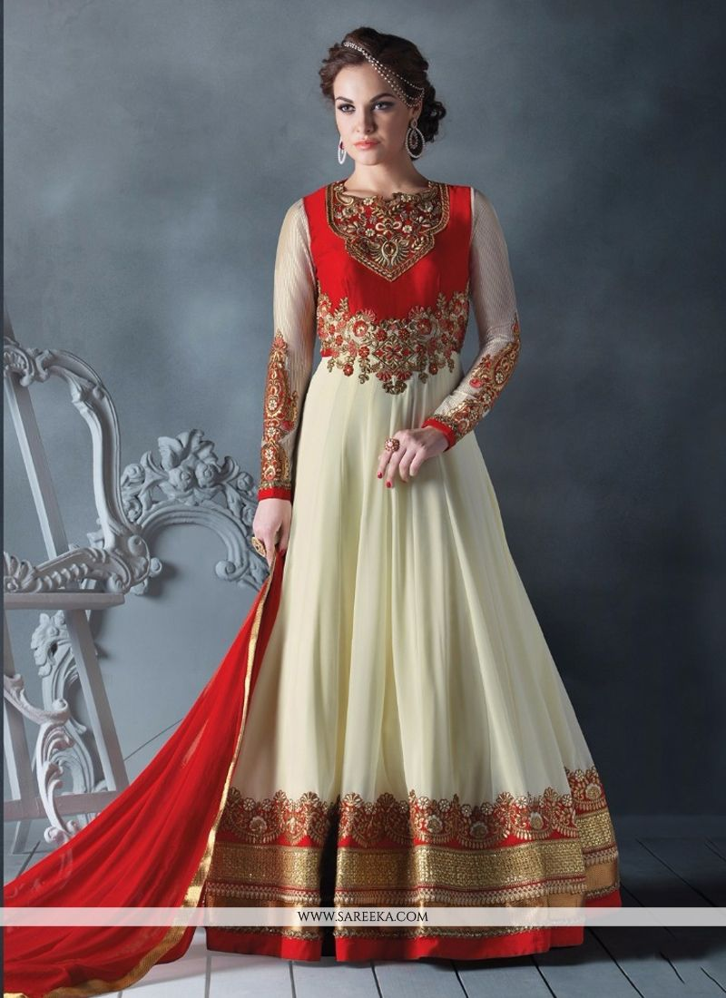 Red and Off White Faux Georgette Floor Length Anarkali Salwar Suit