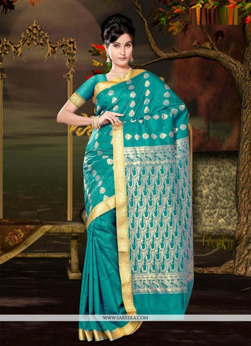 Art Silk Teal Casual Saree