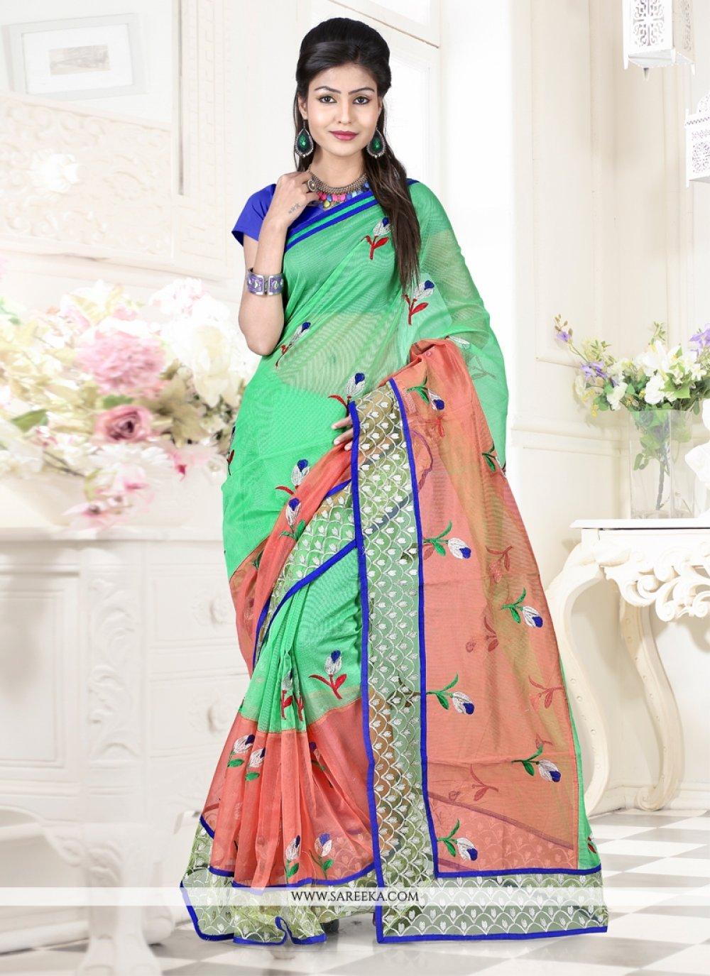 Green Resham Work Super Net Designer Saree