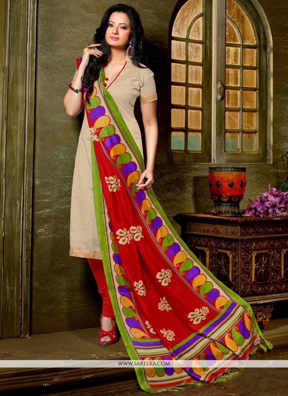 Lace Work Beige Banglori Silk Churidar Designer Suit