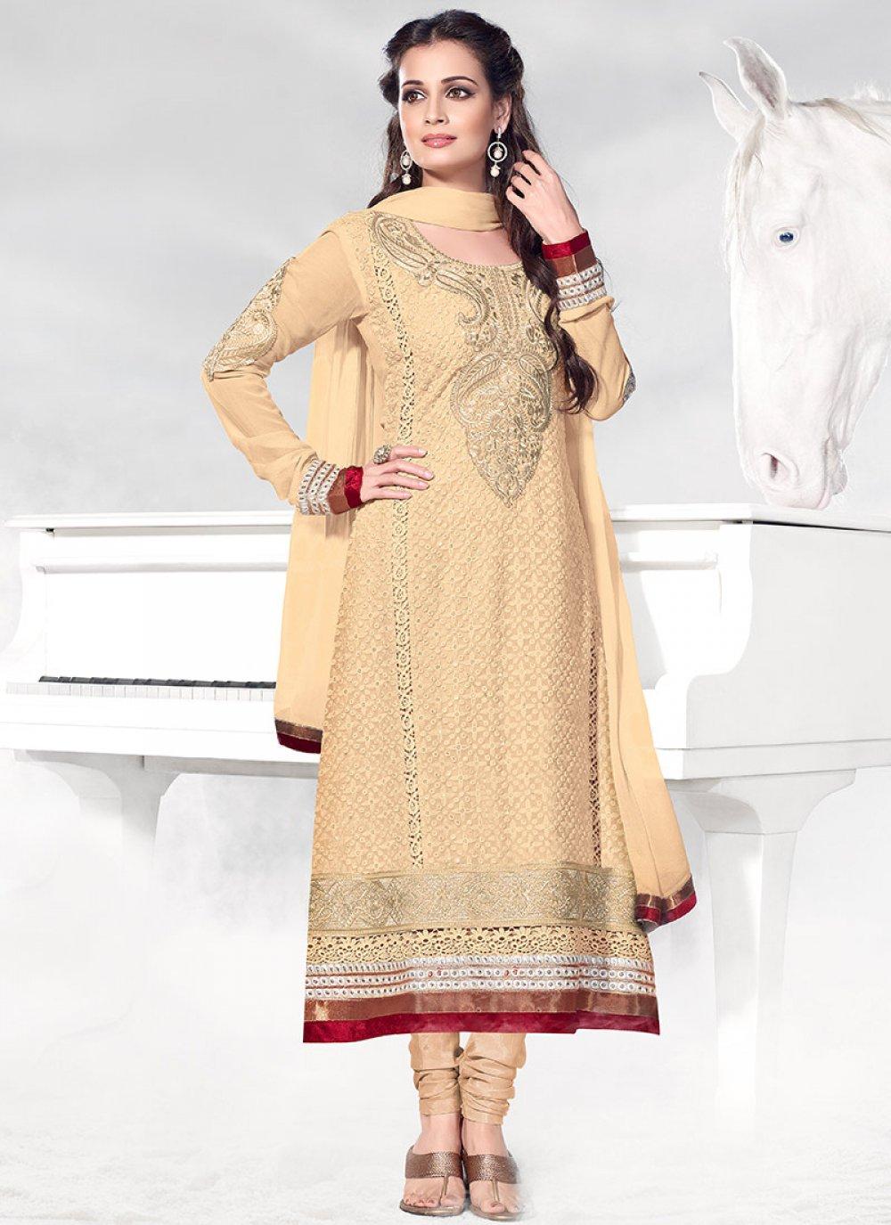 Ptivating Cream Dia Mirza Churidar Suit