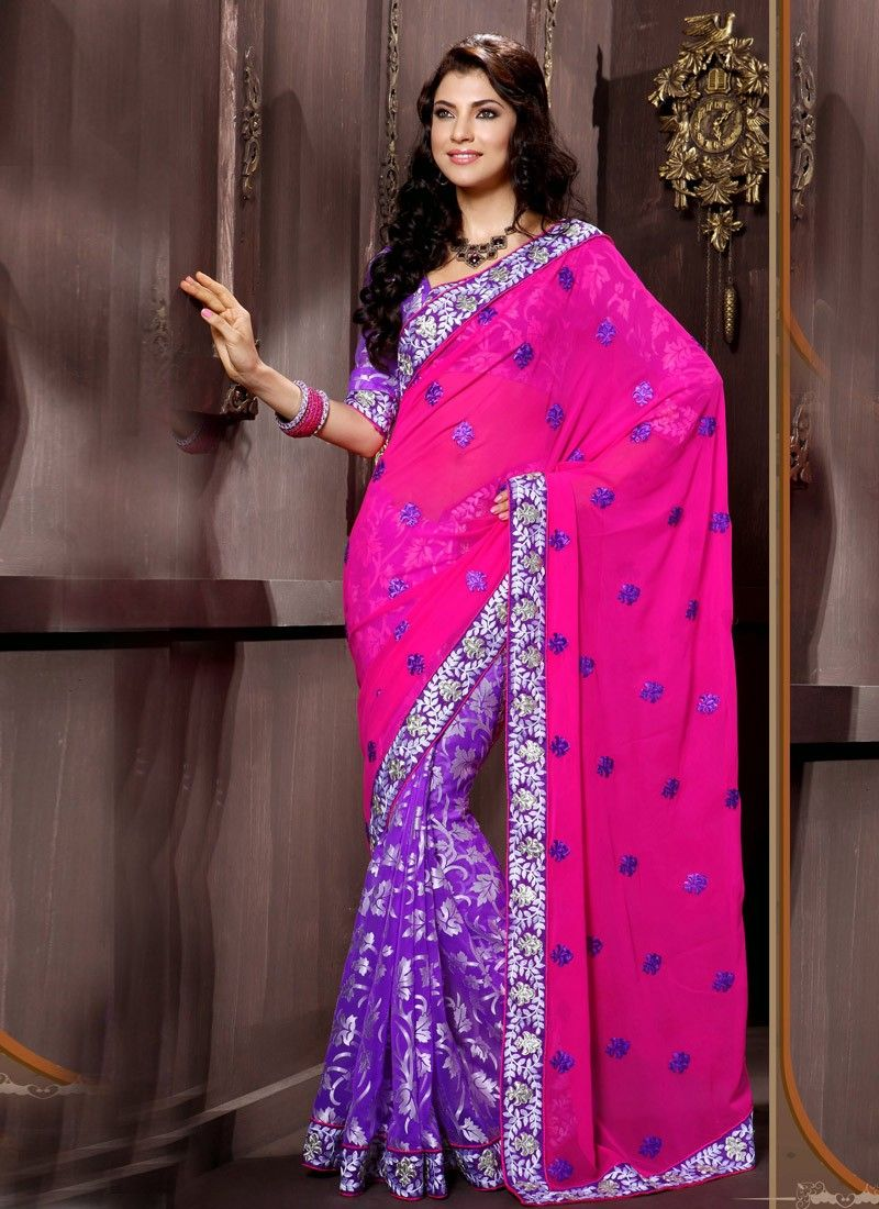 Purpl  Brasso Georgette Designer Half And Half Saree