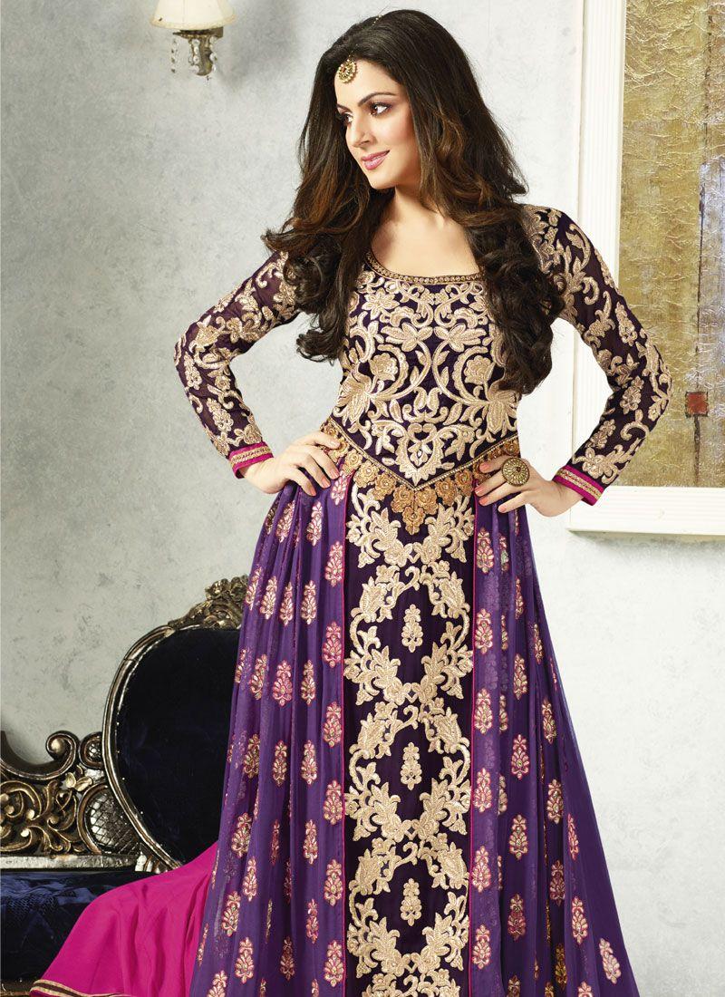 Purple And Black Resham Work Georgette Anarkali Suit
