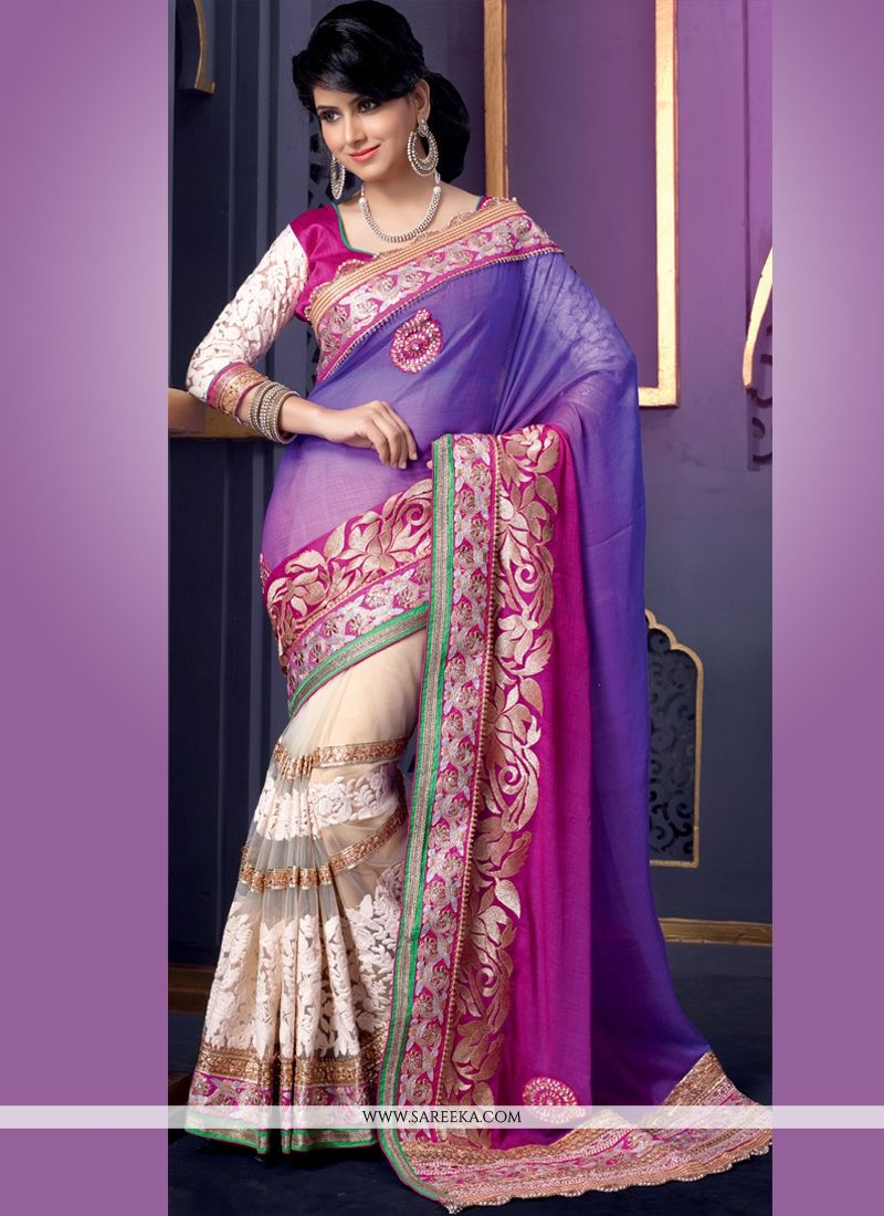 Purple And Cream Net And Georgette Designer Saree