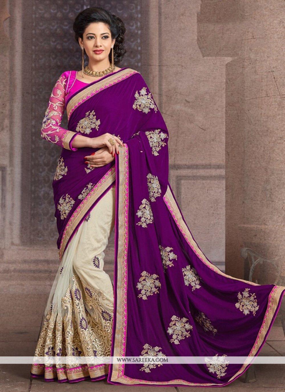 Purple And Cream Net And Velvet Half And Half Saree