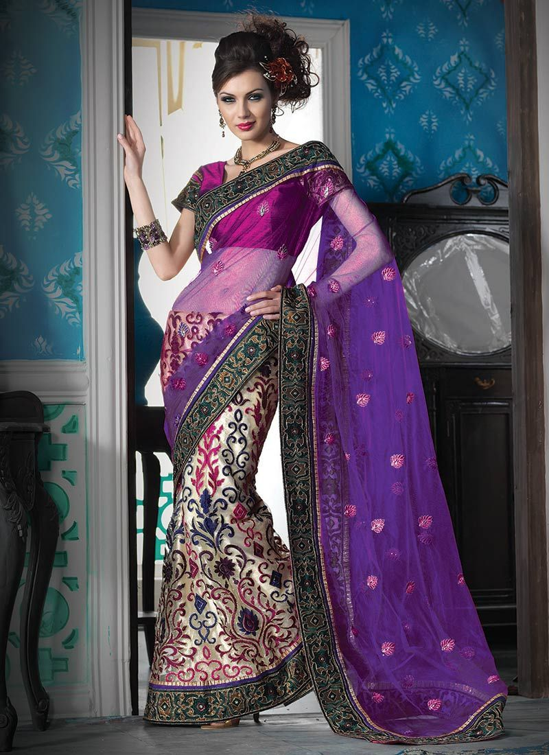 Purple and Cream Net Lehenga Style Saree