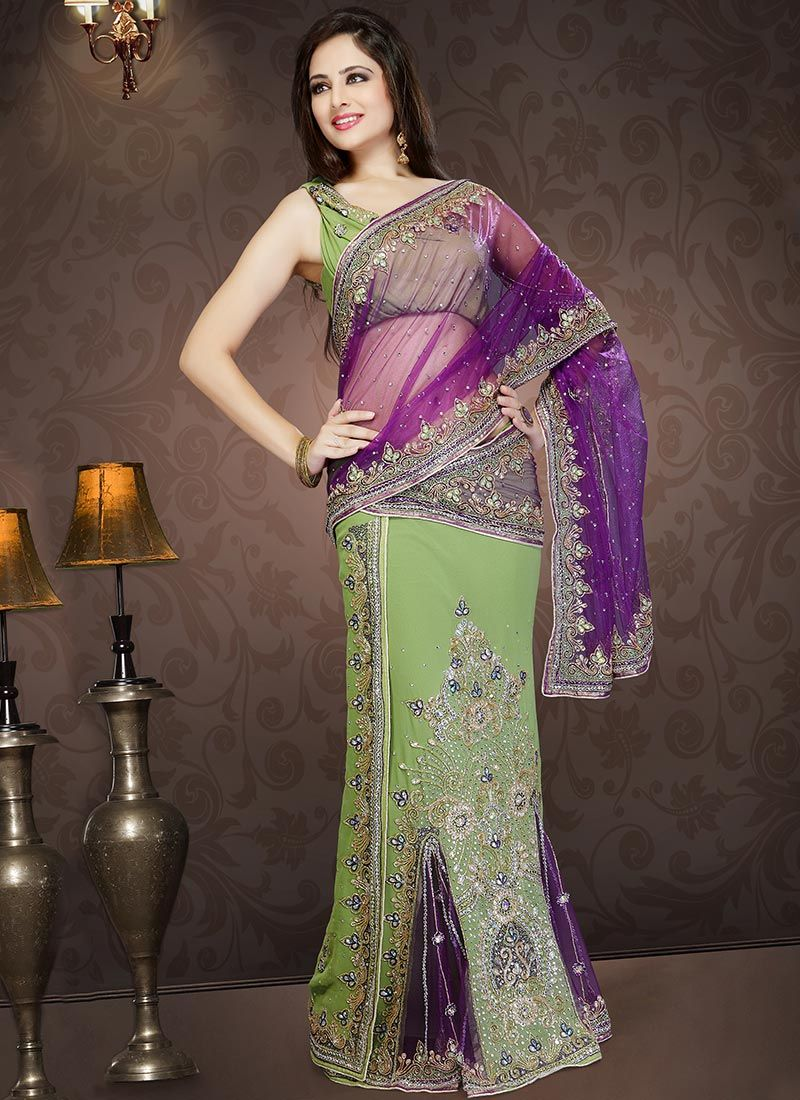 Purple And Green Lehenga Style Saree