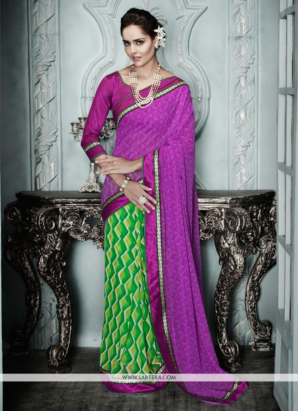 Purple And Green Printed Casual Saree