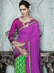 Purple And Green Printed Casual Saree