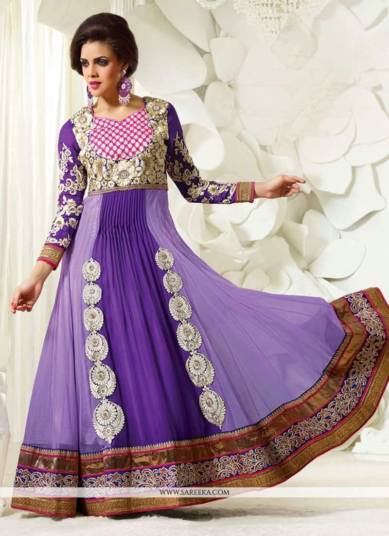 Purple And Lavender Embroidery Work Anarkali Suit