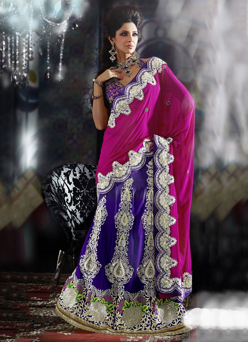 Purple And Magenta Georgette Lehenga Saree