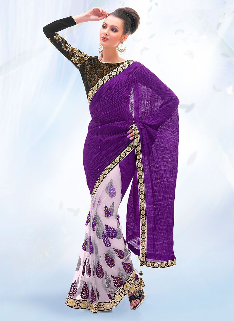 Purple And Off White Faux Chiffon Saree