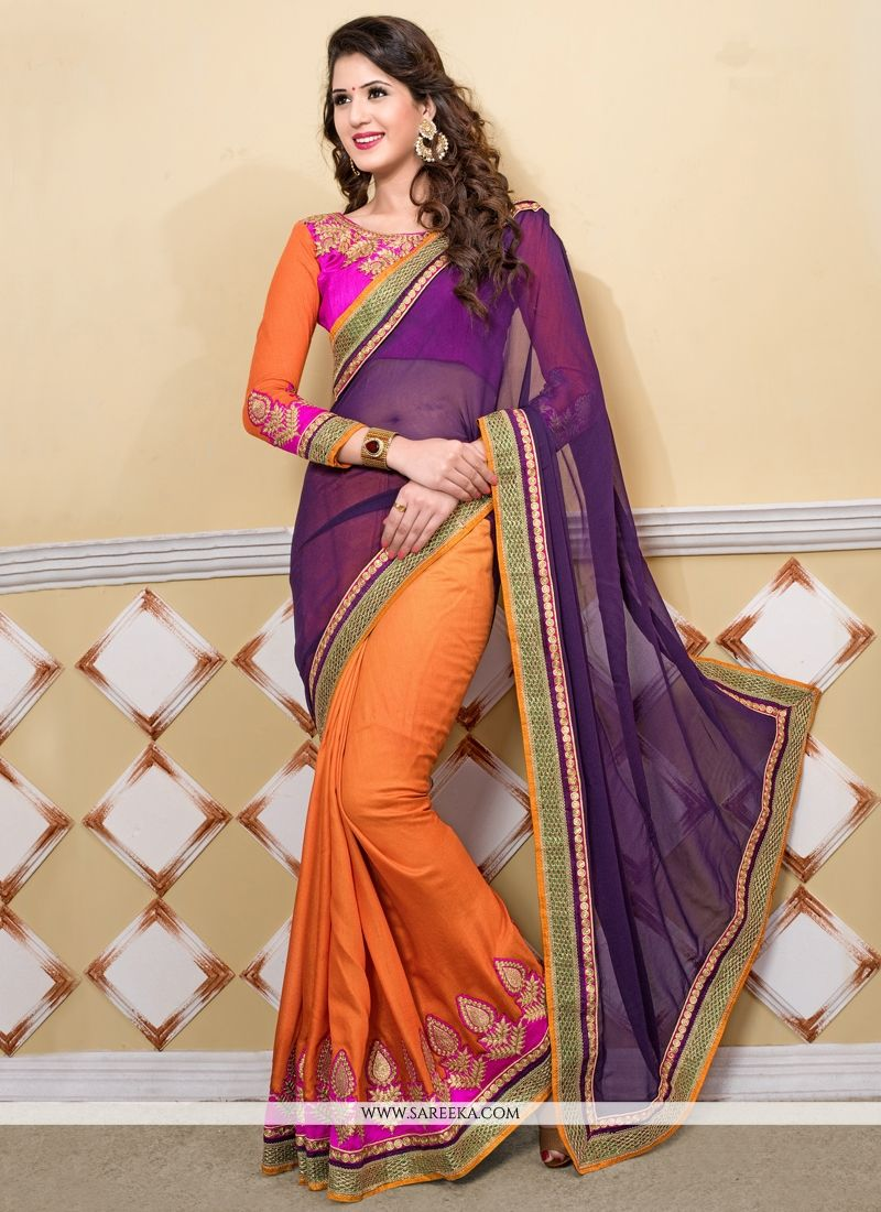 Purple And Orange Pure Georgette Party Wear Saree