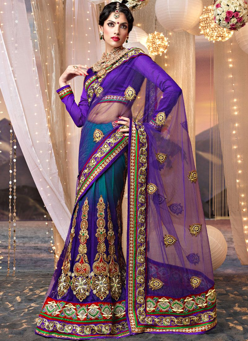 Purple and Shaded Teal Blue Net Lehenga Saree