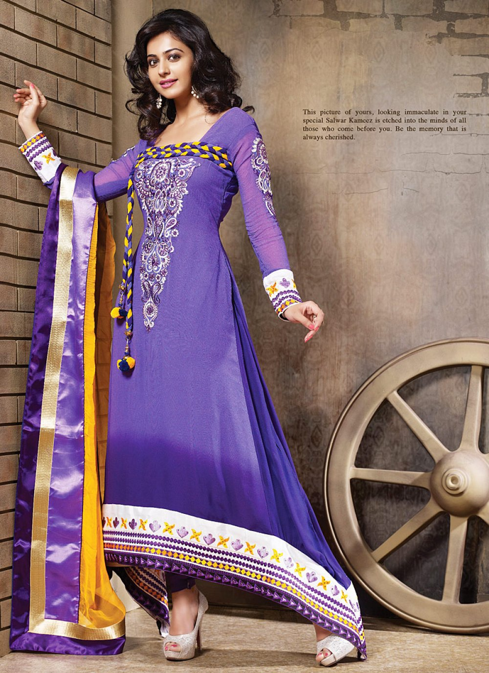 Purple And Violet Embroidery Work Anarkali Suit