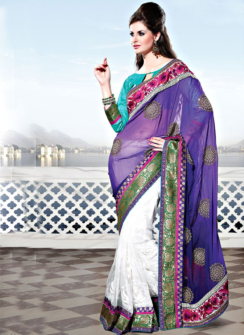 Purple and White Georgette and Net Saree