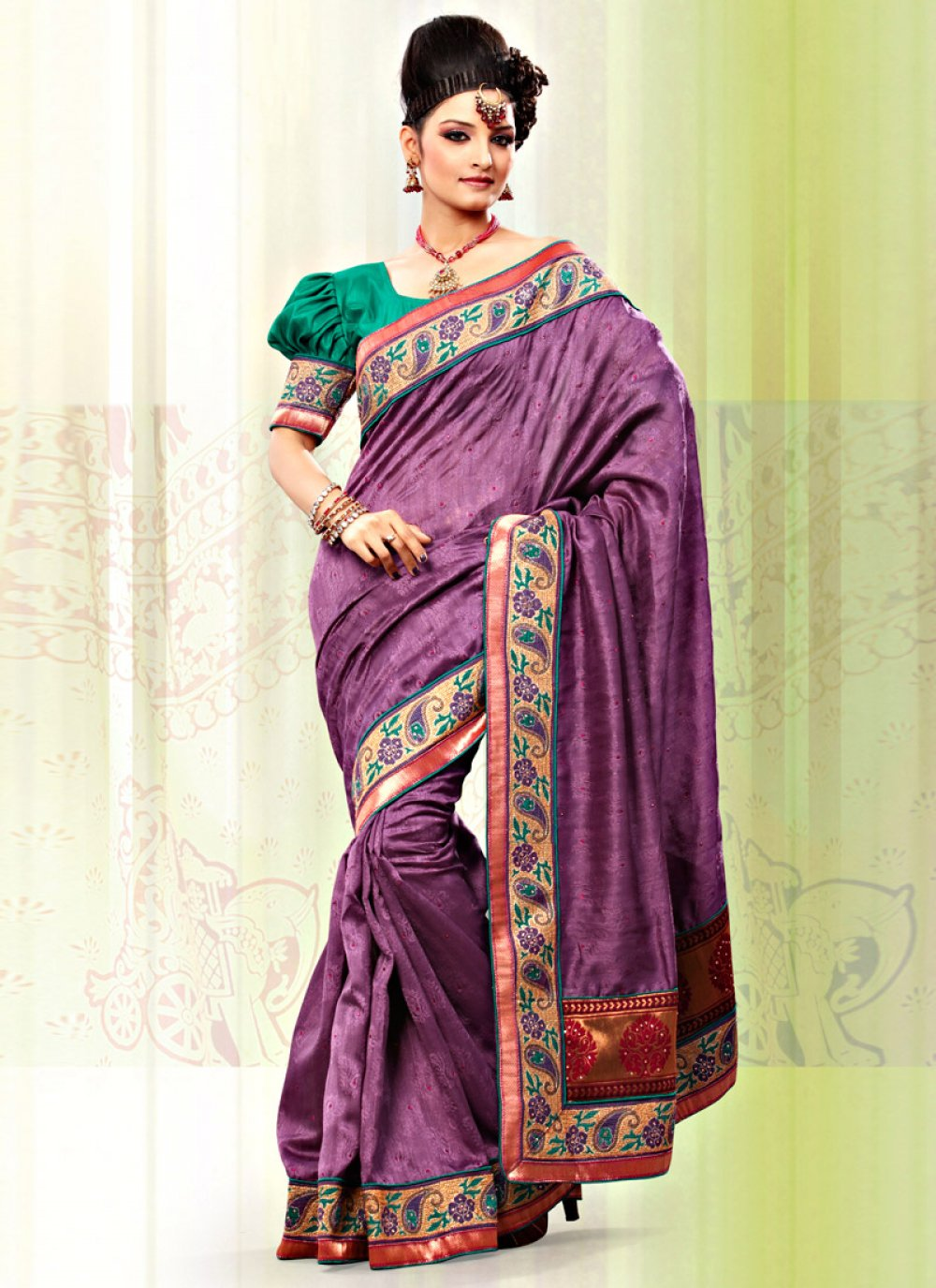 Purple Art Bhagalpuri Jacquard Silk Saree