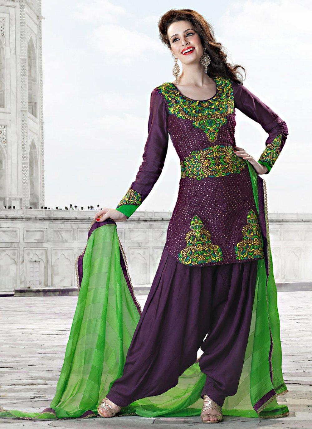 Purple Art Silk Salwar Suit