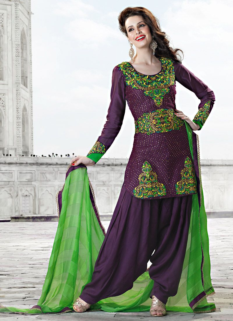 Purple Art Silk Salwar Suit