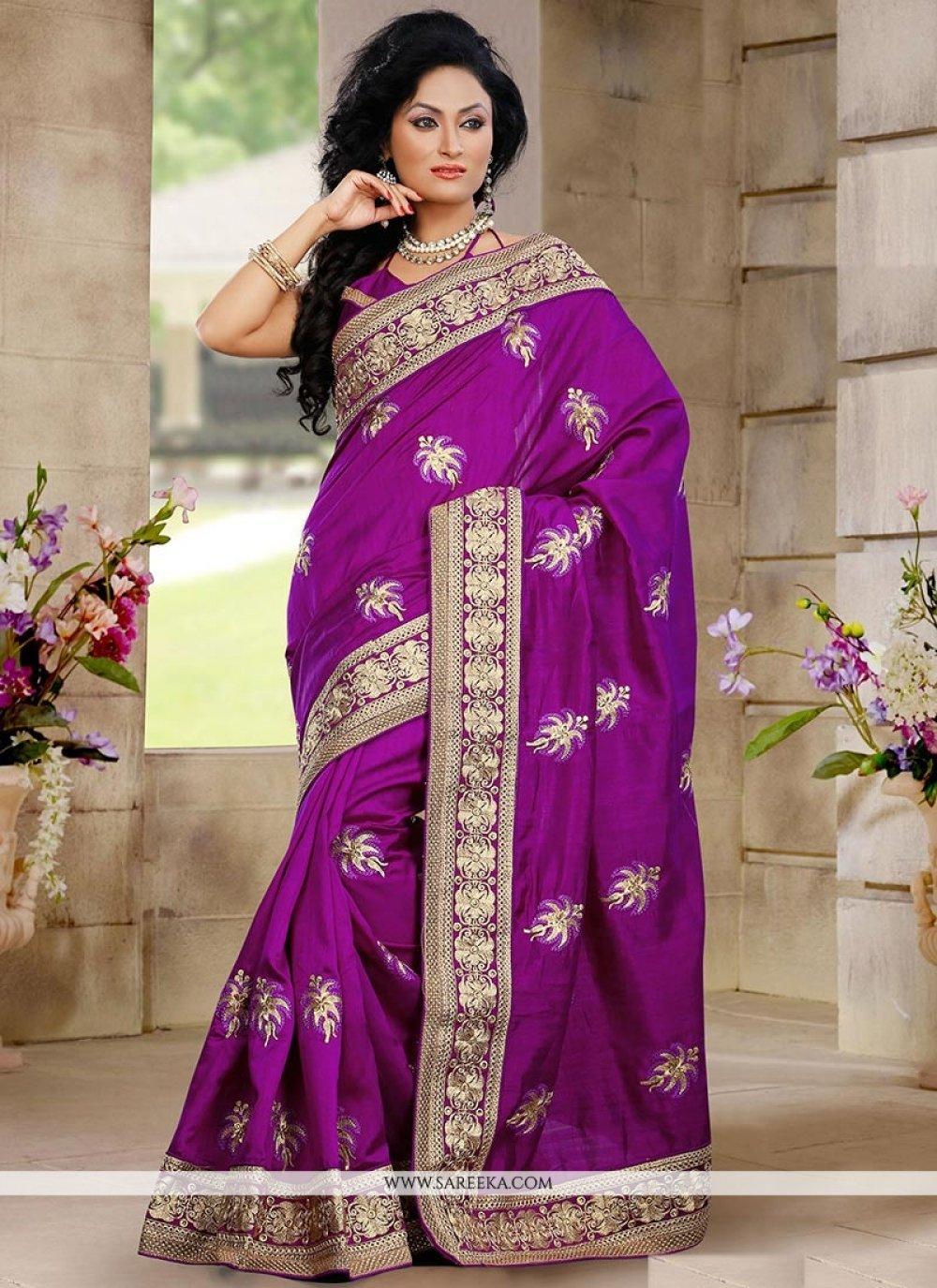 Purple Bhagalpuri Silk Designer Saree
