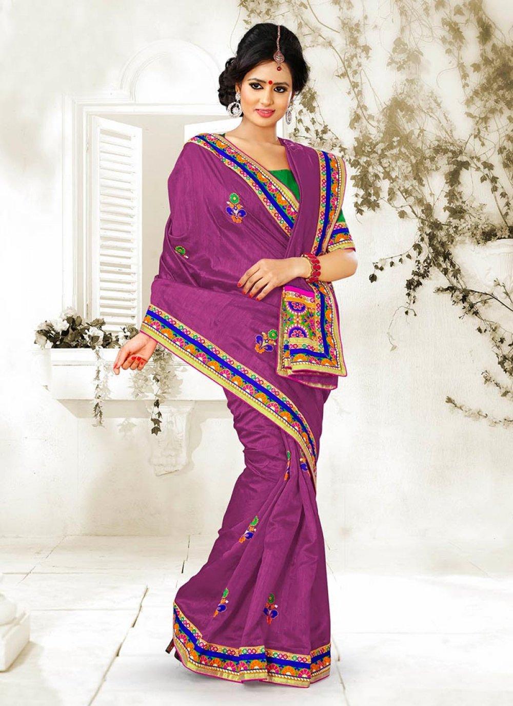 Purple Bhagalpuri Silk Saree