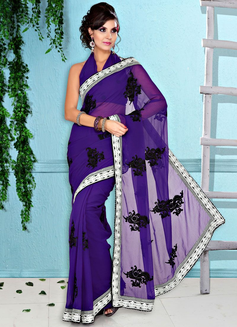 Purple Faux Chiffon Resham Enhanced Saree