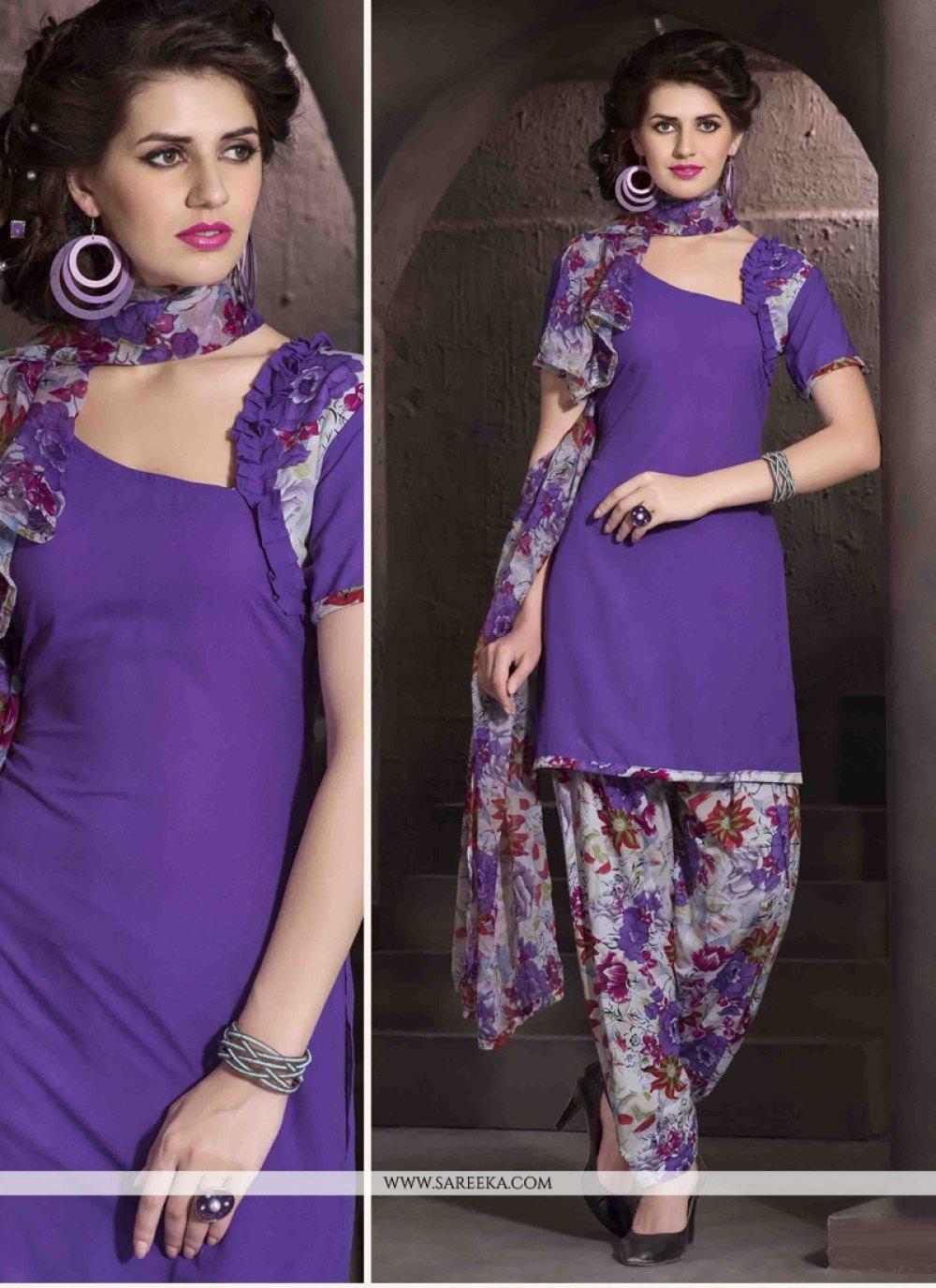 Purple Faux Crepe Designer Patiala Salwar Kameez
