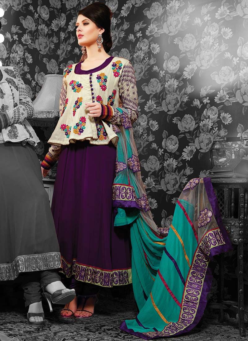 Purple Georgette Pakistani Suit