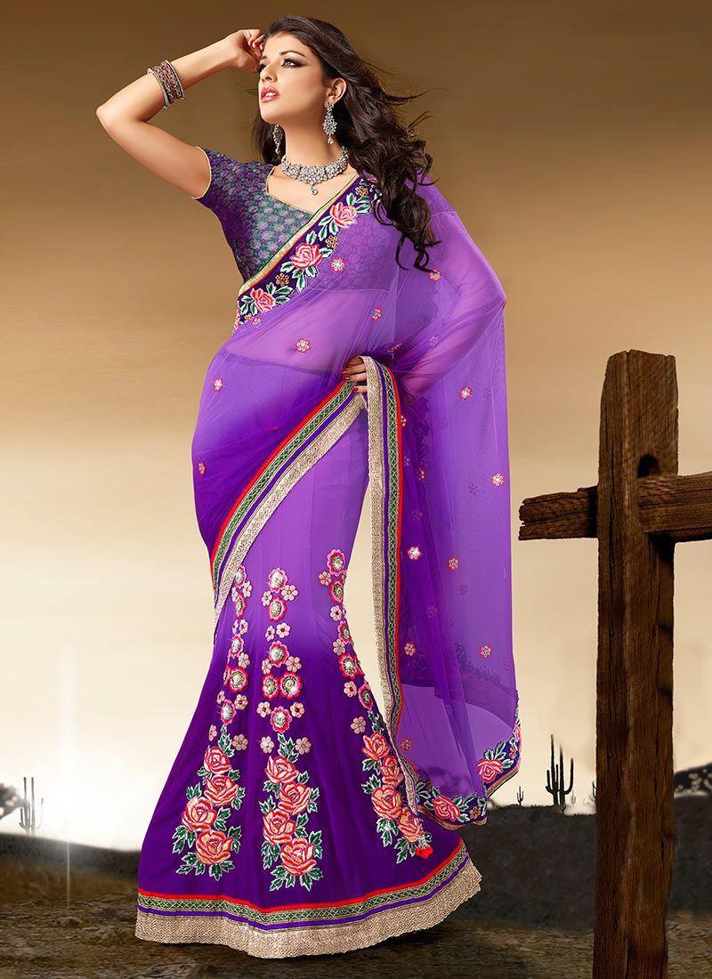 Purple Net Border Lehenga Saree
