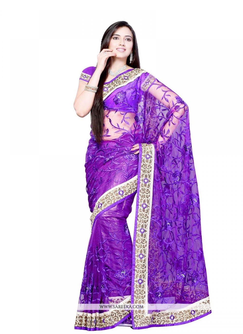Purple Patch Border Work Net Designer Saree